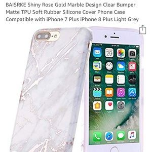 iPhone plus case - Rose Gold Marble Grey